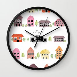 Modern and old style houses  Wall Clock