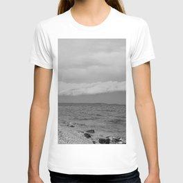 thunderstorm approaching at peroj beach croatia istria black white T-shirt