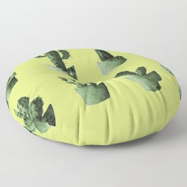 One cactus six cacti in green Floor Pillow