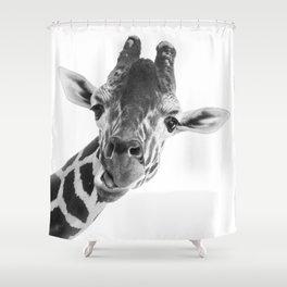 Giraffe Portrait // Grey Wild Animal Cute Zoo Safari Madagascar Wildlife Nursery Decor Ideas Shower Curtain