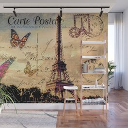 Vintage Paris-Carte Postale Wall Mural