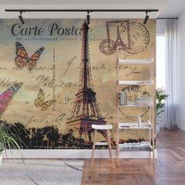 Vintage Paris-Carte Postale Wall Mural