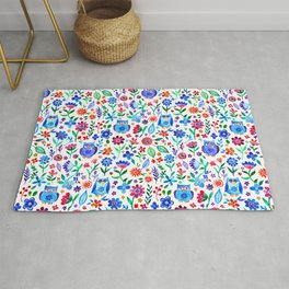 Little Owls and Flowers on White Rug