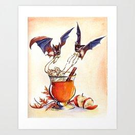 Bat Apple Cider Art Print