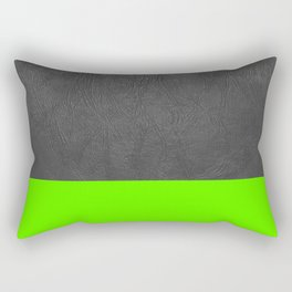 Neon Green and grey leather Rectangular Pillow