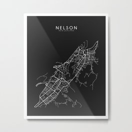 Nelson, New Zealand Street Map Metal Print