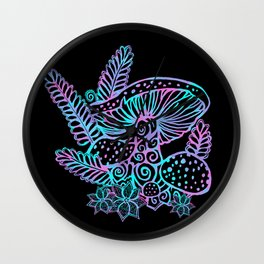 Glowing Mushrooms Wall Clock