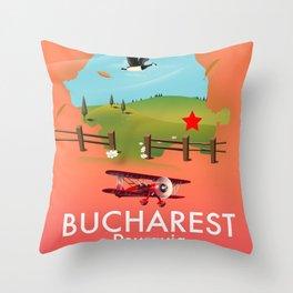 Bucharest Romania vacation map Throw Pillow
