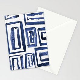 Inky Squares | Classic Blue Stationery Cards
