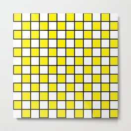 Checkered Outlined Yellow and Black Metal Print