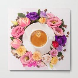 Coffee and flowers Metal Print