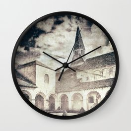 French Augustinian convent building of Cremieu in Isere retro styled Wall Clock