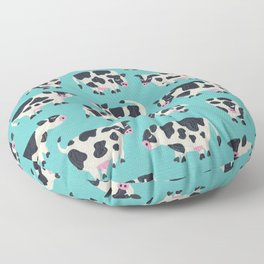 Cow Collection – Turquoise Floor Pillow