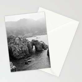 Ocean Arches | Black and White Nature Landscape Photography in California Stationery Cards