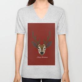 Merry Christmas Deer Red Unisex V-Neck