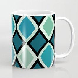 Midcentury Warped Diamonds Teal Coffee Mug