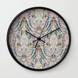 Pink Blue Green Leaf Flower Paisley Wall Clock