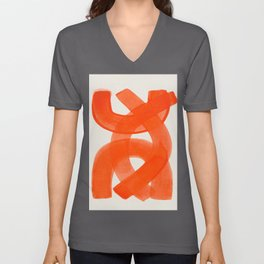 Mid Century Modern Abstract Painting Orange Watercolor Brush Strokes Unisex V-Ausschnitt