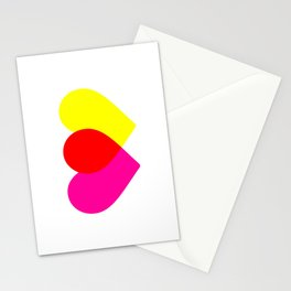 Love hearts (pink & yellow) Stationery Cards