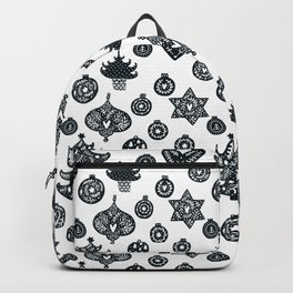 black and white Scandinavian Christmas Prints patterns Backpack