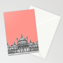 Brighton Royal Pavilion Facade ( Coral version ) Stationery Cards