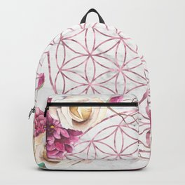 Mandala Rose Gold Garden Pink Red Yellow Backpack