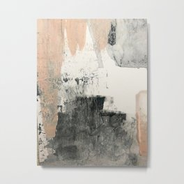Peace and Quiet [1]: a pretty, minimal abstract piece in gray and peach by Alyssa Hamilton Art Metal Print
