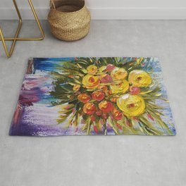 Bright Flowers Painting, Yellow Flowers artwork, floral art Rug