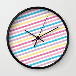 Pastel Rainbow Pattern Wall Clock