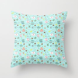 Vintage Pastel Teacups Tea Party Pattern Throw Pillow