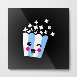 Kawaii Popcorn Bag Gift Idea Design Motif Metal Print