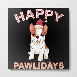 Happy Pawlidays Top Holiday Dog Breed Metal Print