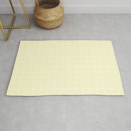 Lemon chiffon - pink color - White Lines Grid Pattern Rug