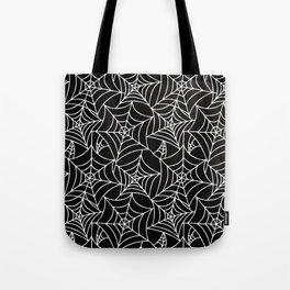 Gothic Halloween - white spider webs on black background Tote Bag
