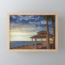 Pavilion Under Palm Tree by the Sea at Sunset Framed Mini Art Print