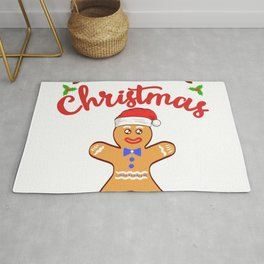 Merry Christmas Gingerbread Design For December 25th T-shirt Design Jesus Birthday Carol Gift Tree Rug