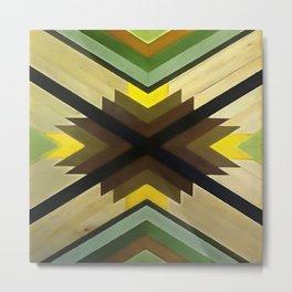 Navaho Vibes Geometric Pattern - Black Brown Yellow Metal Print