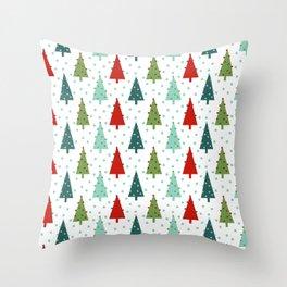 Christmas Tree holiday dots snow polka dot minimal modern geometric christmas decor design Throw Pillow