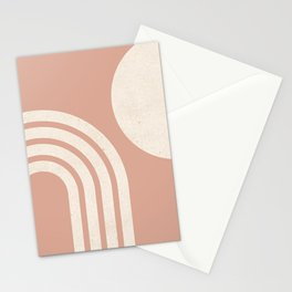 Mid Century Modern Dust Pink Sun & Rainbow Stationery Cards