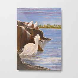 Snowy Egrets - The Expert Fisherman Metal Print
