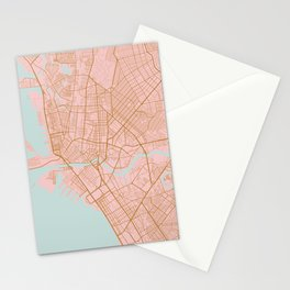 Pink and gold Manila map Stationery Cards