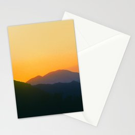 Mountain Sunset In Yellow And Tangerine Stationery Cards