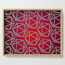 D20 Pattern - Red Black Gray Serving Tray