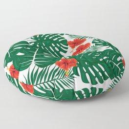 Tropical Leaves Hibiscus Flowers Floor Pillow