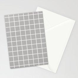 Minimalist Window Pane Grid, Dove Gray Stationery Cards