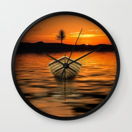 Row boat painting Wall Clock