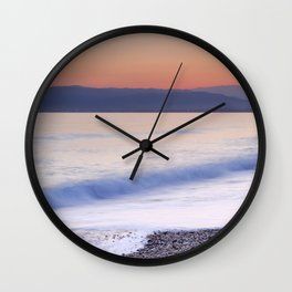 Pink waves. Sunset Wall Clock