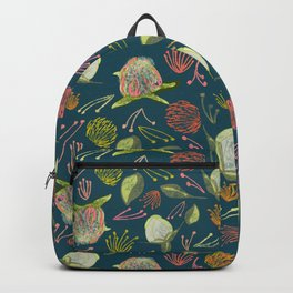 Peony Buds Abound Pattern on Blue Background with Watercolor Splotches Backpack