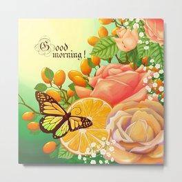 Full Bloom | Butterfly loves oranges Metal Print