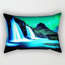 Aurora Borealis Waterfall Vibrant Rectangular Pillow